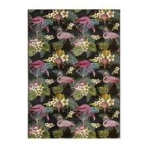 Calypso 396 fekete kültéri szőnyeg flamingókkal 160x230 cm