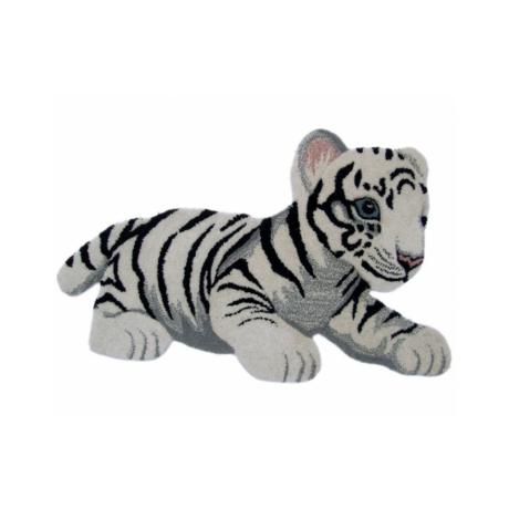 Tigris formájú fehér színű gyerekszőnyeg 60x90 cm