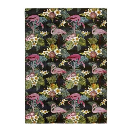 Calypso 396X fekete kültéri szőnyeg flamingókkal 160x230 cm